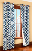 Trellis Insulated Grommet Top Curtain Pair  - NAVY