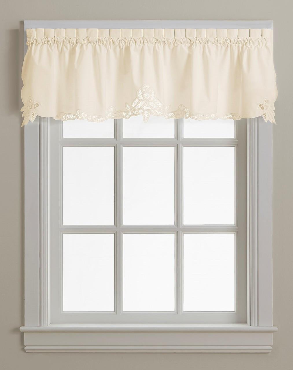 Battenburg Lace Cotton Kitchen Curtain Valance Ecru Linens4less Com