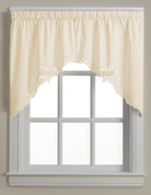 Battenburg Lace cotton kitchen curtain swag  -  Ecru