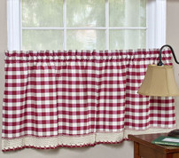 "Buffalo Check 36"" kitchen curtain tier - Burgundy"