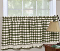 "Buffalo Check 24"" kitchen curtain tier - Sage"