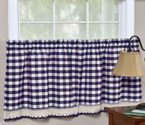 "Buffalo Check 24"" kitchen curtain tier - Navy"
