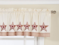 Country Stars kitchen valance - Ecru/Red