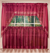 Emelia Embroidered Sheer Insert Valance - Burgundy