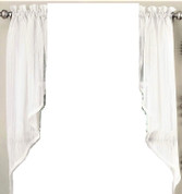 Harmony kitchen curtain swag - White