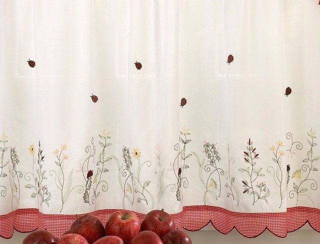Ladybug Meadow 24 Kitchen Curtain Tier Linens4less Com