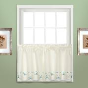 """Rachael kitchen curtain 24"""" tier (pr) - Blue"""