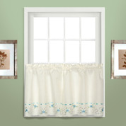 """Rachael kitchen curtain 36"""" tier (pr) - Blue"""