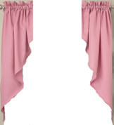 Ribcord kitchen curtain swag - Blush