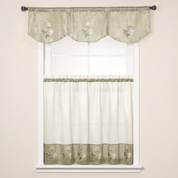 Rose Embroidered Valance - Sage Green