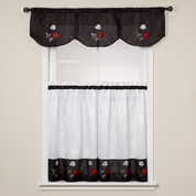 Rose Embroidered Valance - Black