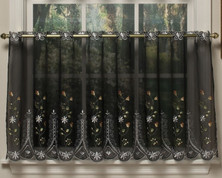 "Samantha 24"" kitchen curtain tier - Black"