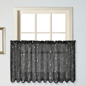 "Savannah kitchen curtain 36"" tier (pr) - Black"