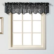 Savannah kitchen curtain Valance - Black