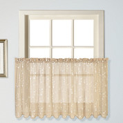 "Savannah kitchen curtain 24"" tier (pr) - Taupe"