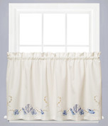 "Seabreeze kitchen curtain 24"" tier (pr) - Ocean"
