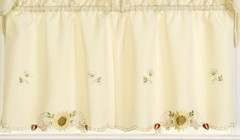 "Sunflowers 24"" kitchen curtain tier"