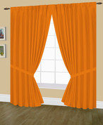 Elaine Pinch Pleated Drape PAIR - Neon Orange
