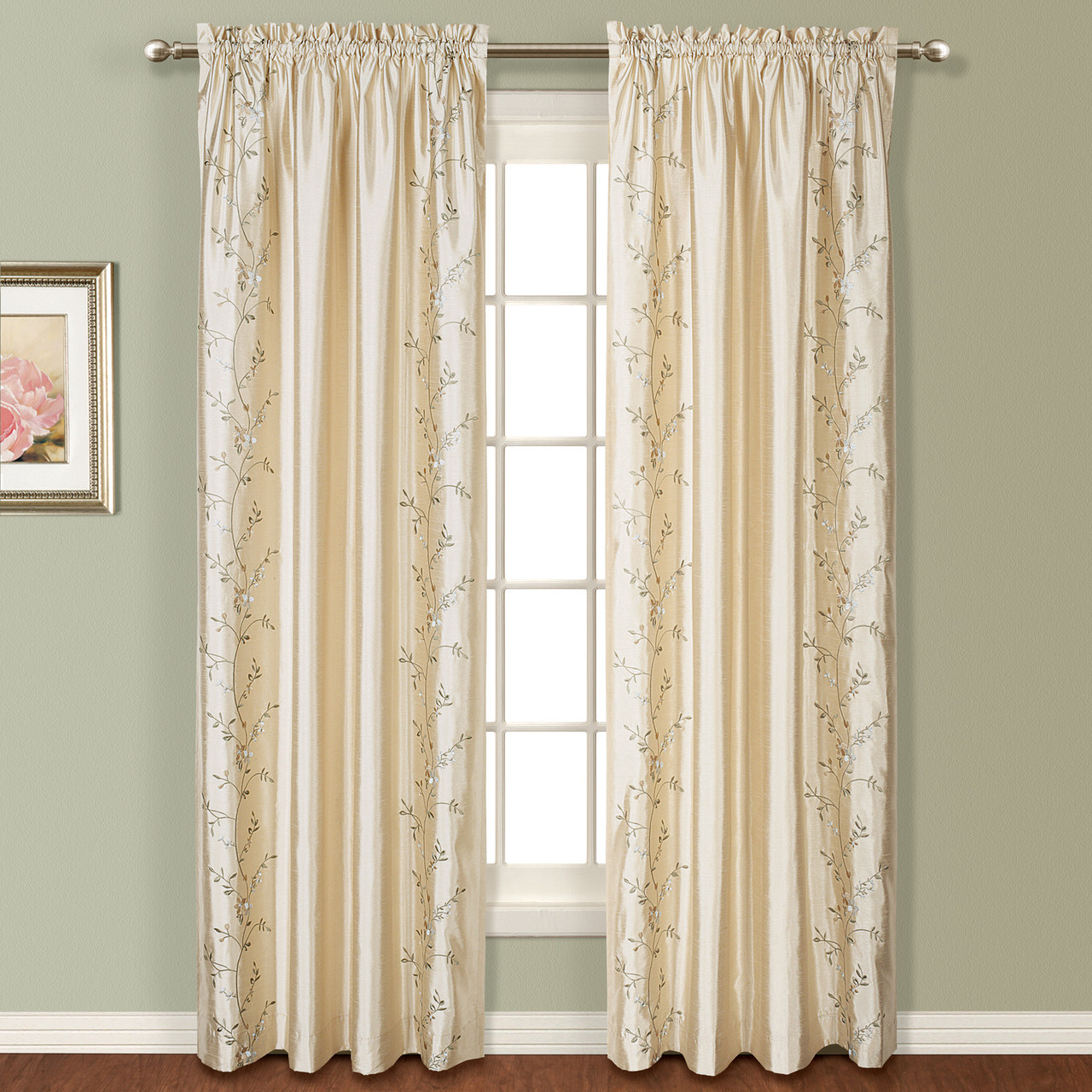 Addison Embroidered Rod Pocket Curtain Panel Natural