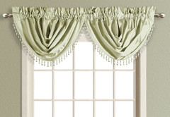 Anna Faux Silk Waterfall Valance - SAGE