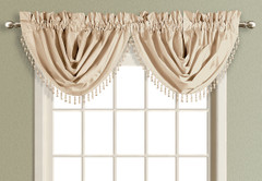 Anna Faux Silk Waterfall Valance - TAUPE