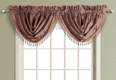 Anna Faux Silk Waterfall Valance - CHOCOLATE