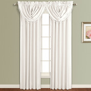 Anna Faux Silk Rod Pocket Curtain Panel - WHITE