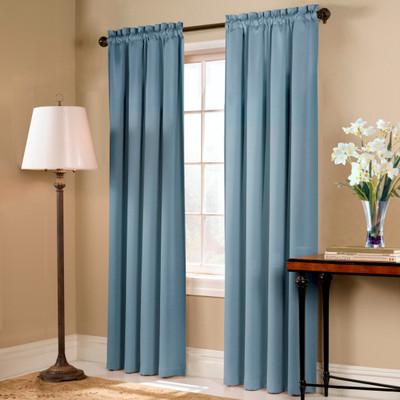 Blackstone Blackout Rod Pocket Curtain Panel - BLUE