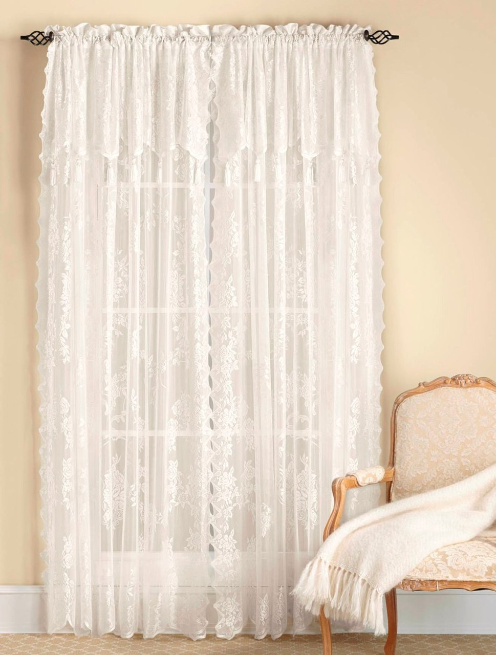 Carly Lace Rod Pocket Curtain Panel With Attached Valance Available In White Or Ecru Linens4less Com