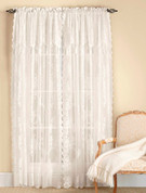 Carly Lace Rod Pocket Curtain Panel with attached Valance - Available in White or Ecru