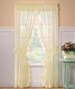 Emelia Sheer Ruffled Priscilla Curtains - Available in White or Ecru