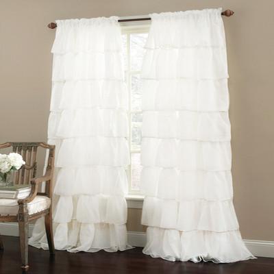 Gypsy Ruffled Curtain Panel - White