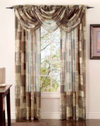 Jasmine Printed Sheer Rod Pocket Curtain Panel - Available in Spring, Mocha, Burgundy