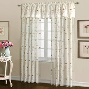 Loretta Embroidered Sheer Rod Pocket Curtain Panel - Chocolate