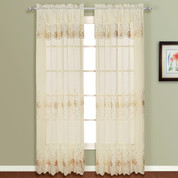 Marianna Embroidered Rod Pocket Curtain Panel - Natural/Taupe