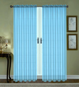 Monique Sheer Rod Pocket Curtain - Aqua