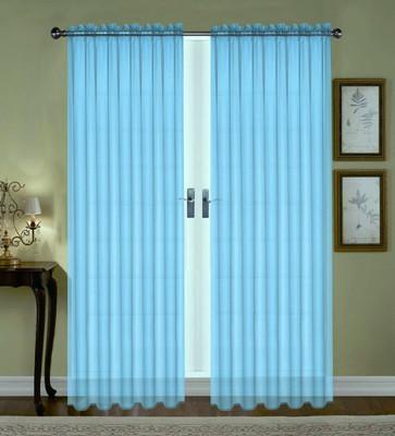 Monique Sheer Rod Pocket Curtain - Aqua