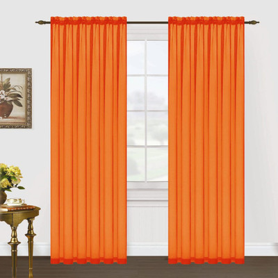 Monique Sheer Rod Pocket Curtain - Neon Orange
