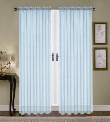 Monique Sheer Rod Pocket Curtain - Light Blue