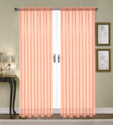 Monique Sheer Rod Pocket Curtain - Peach (Coral)