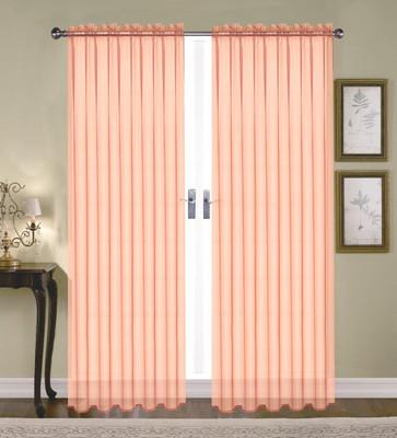 Monique Sheer Rod Pocket Curtain - Peach (Coral)