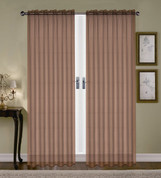 Monique Sheer Rod Pocket Curtain - Chocolate