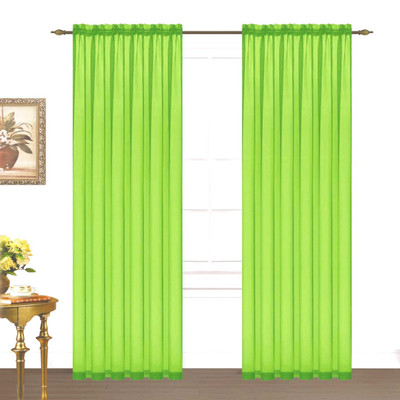 Monique Sheer Rod Pocket Curtain - Neon Lime