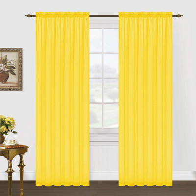 Monique Sheer Rod Pocket Curtain - Neon Yellow