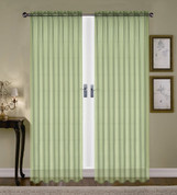 Monique Sheer Rod Pocket Curtain - Green