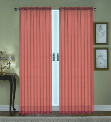 Monique Sheer Rod Pocket Curtain - Burgundy