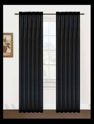 Monique Sheer Rod Pocket Curtain - Black