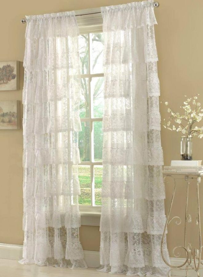 Priscilla Lace Layered Curtain Panels Available In White