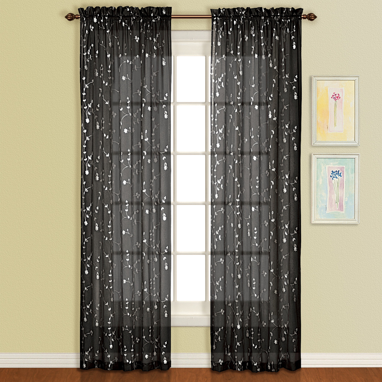Savannah Rod Pocket Curtain Panel Black Linens4less Com
