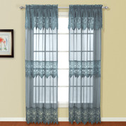 Valerie Macrame Rod Pocket Curtain Panel - Blue